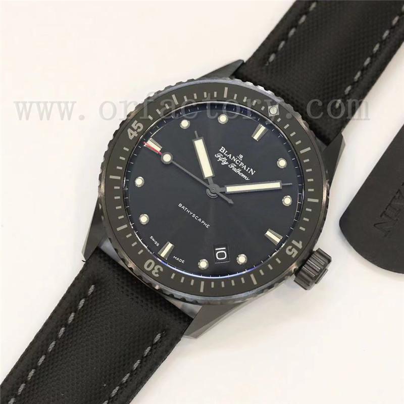 GF厂宝珀五十噚5000缎面黑陶瓷43.6mm腕表对比正品评测