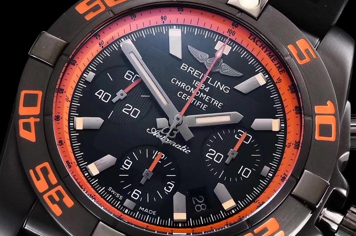 GF厂百年灵机械计时系列黑鹰橙圈复刻腕表做工究竟如何-品鉴GF厂百年灵