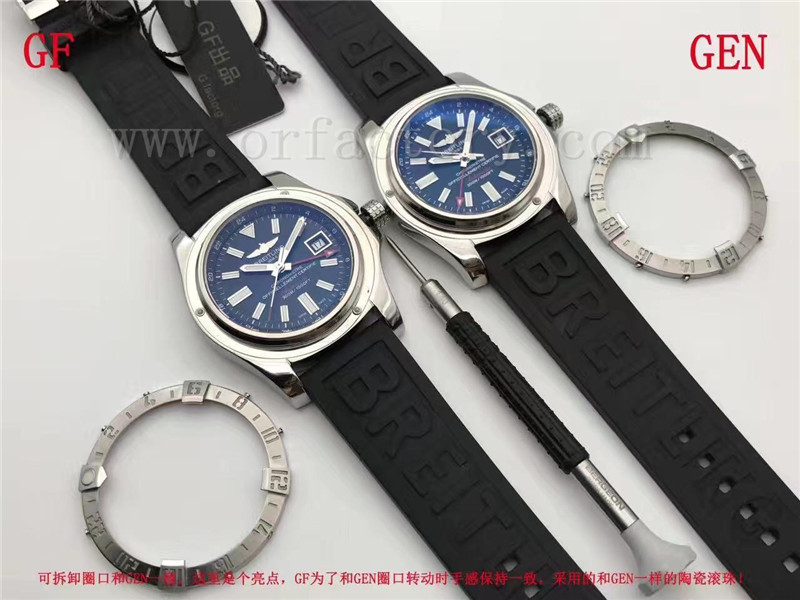 GF厂百年灵复仇者二代GMT世界时间腕表对比正品评测