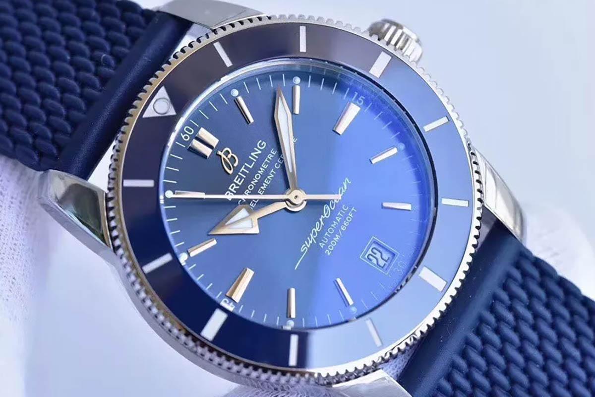 GF百年灵超级海洋文化二代蓝圈蓝面复刻腕表做工细节深度评测-品鉴百年灵家族的水鬼
