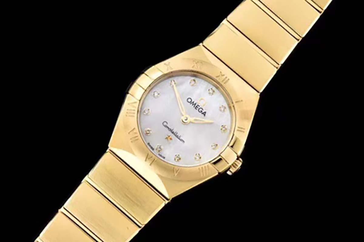 GF厂欧米茄星座系列全金款贝壳面复刻腕表简评-25毫米女士腕表推荐