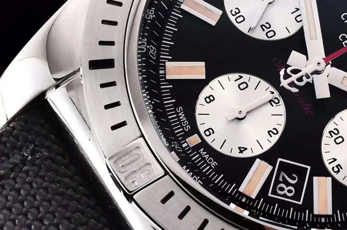 GF厂百年灵机械计时王牌飞行员系列黑盘复刻腕表做工细节评测-品鉴GF厂百年灵
