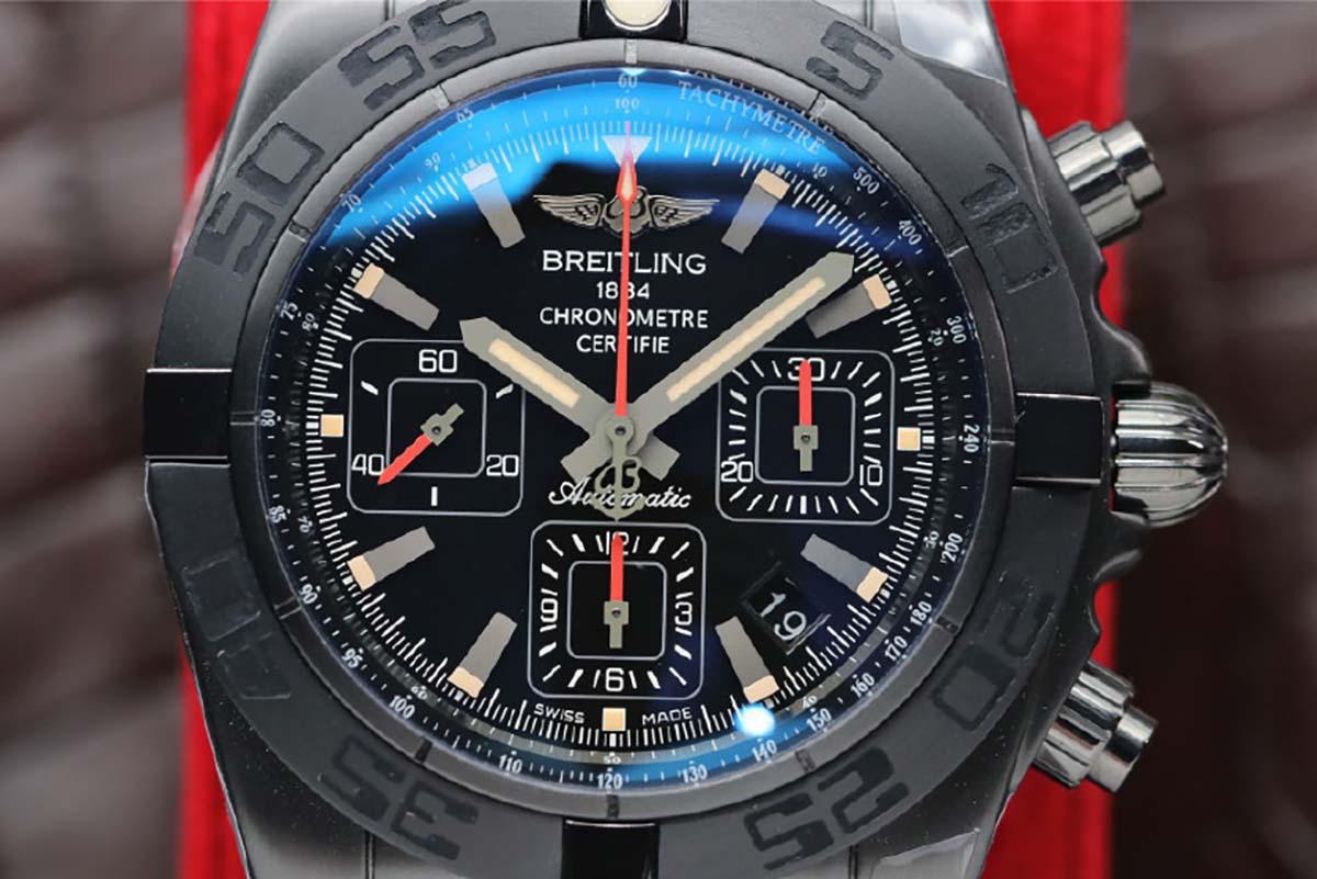 GF厂百年灵机械计时44毫米黑钢材质复刻腕表做工细节评测-外圆内方黑色字面