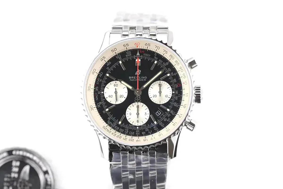 GF厂百年灵航空计时1系列黑盘复刻腕表做工细节评测「B01计时腕表43系列」