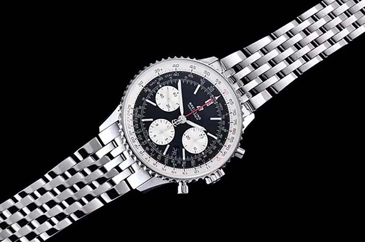 GF厂百年灵航空计时B01系列黑色字面复刻腕表做工细节究竟如何-品鉴GF厂腕表