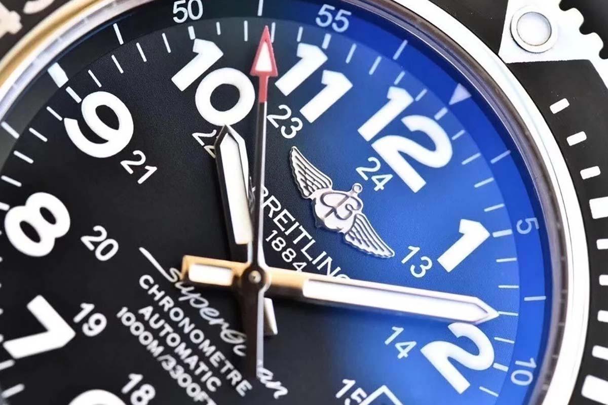 GF厂百年灵超级海洋二代V2版黑色字面复刻腕表做工细节详细解析