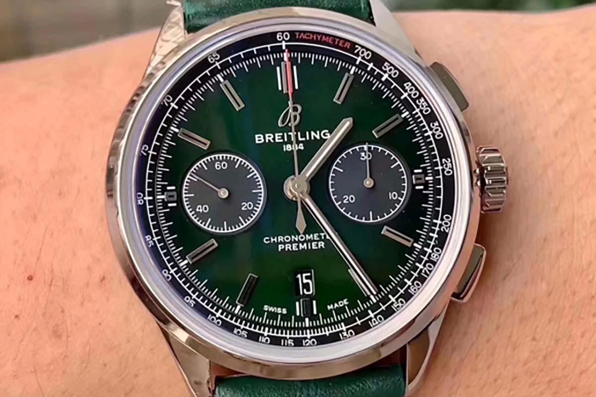 GF厂百年灵璞雅系列绿色字面复刻腕表做工细节评测-品鉴GF厂腕表
