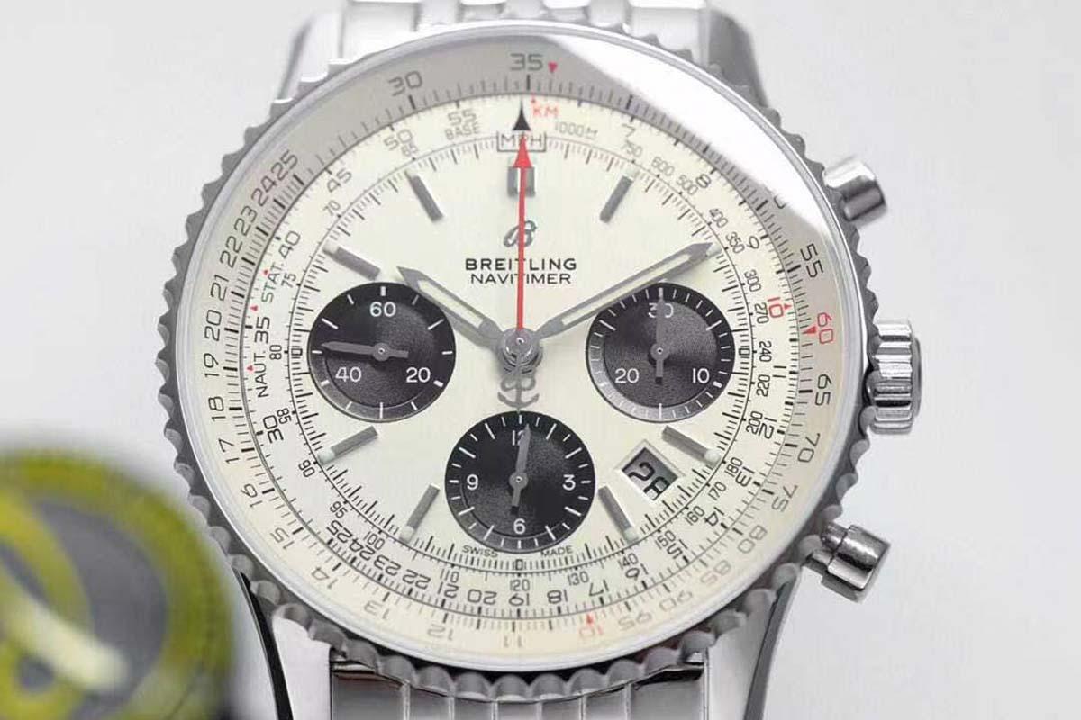 GF厂百年灵航空计时B01计时白盘复刻腕表做工细节评测-品鉴GF厂计时款复刻腕表