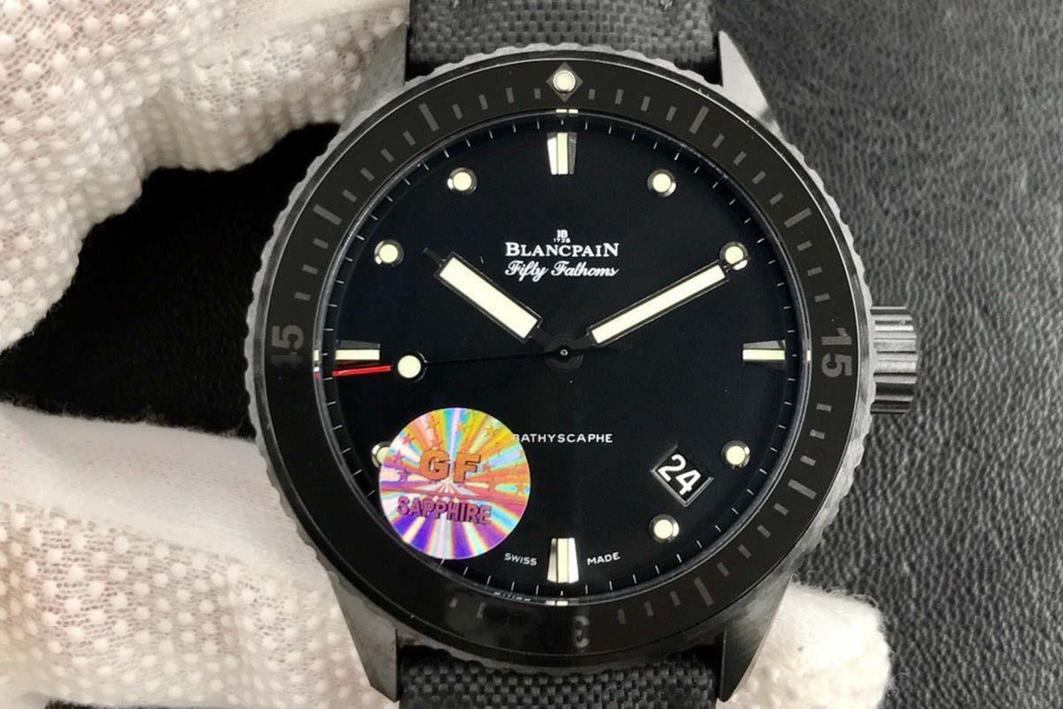 GF厂宝珀五十噚系列5000黑陶瓷材质复刻腕表做工细节深度评测-品鉴GF厂复刻