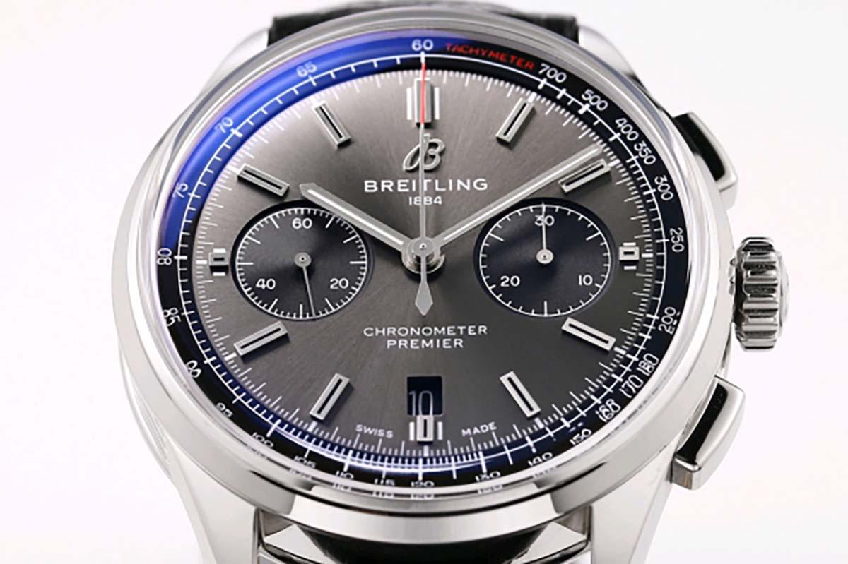 GF厂百年灵璞雅B01计时系列灰盘复刻腕表细节评测-休闲商务随意转变